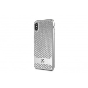 Mercedes Benz Carbon Alu Stripes Hülle Apple iPhone X / Xs Silber