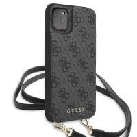 Guess 4G Crossbody Cardslot Hülle iPhone 11 Schultergurt Grau GUHCN61CB4GG