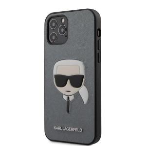 Karl Lagerfeld iPhone 12 / 12 Pro 6,1 Schutzhülle Ikonik Karl Head Saffiano Silber