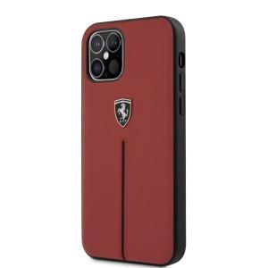 Ferrari iPhone 12 Pro Max Off Track Lederhülle Rot / Schwarz Streifen
