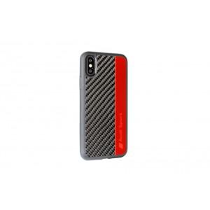 Audi Echtes Carbon Hülle / Cover iPhone XS / X R8 Serie Schwarz / Rot