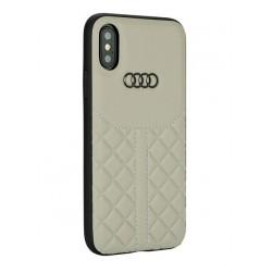 Audi Echtleder Hülle / Case iPhone XS / X Q8 Serie Beige