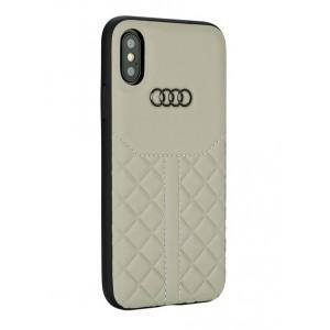Audi Echtleder Hülle / Case iPhone XS Max Q8 Serie Beige
