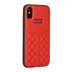 Audi Echtleder Hülle / Case iPhone XR Q8 Serie Rot