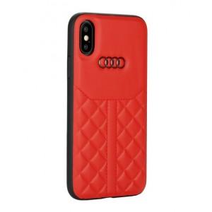 Audi Echtleder Hülle / Case iPhone XS / X Q8 Serie Rot