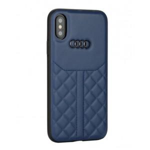 Audi Echtleder Hülle / Case iPhone XS / X Q8 Serie Blau