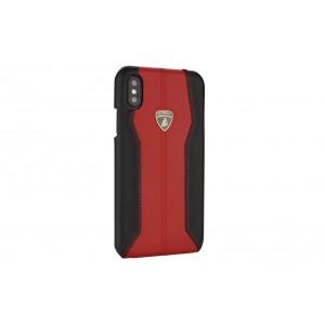Lamborghini Huracan Echtleder Hülle für iPhone XS Max D1 Serie Schwarz Rot