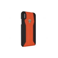 Lamborghini Huracan Echtleder Hülle für iPhone XS Max D1 Serie Schwarz Orange