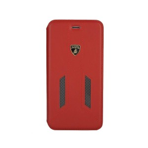 Lamborghini Huracan Echtleder / Carbon Tasche iPhone X / Xs D6 Serie Rot