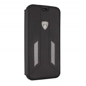 Lamborghini Huracan Echtleder / Carbon Tasche iPhone X / Xs D6 Serie Schwarz