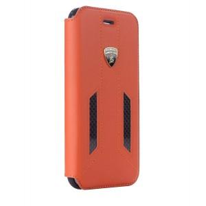 Lamborghini Huracan Echtleder / Carbon Tasche iPhone X / Xs D6 Serie Orange