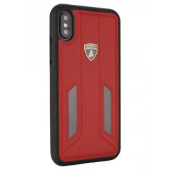 Lamborghini Huracan Echtleder Hülle für iPhone XS Max D6 Serie Rot