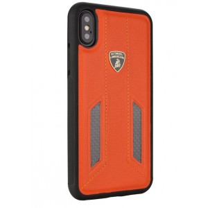 Lamborghini Huracan Echtleder Hülle für iPhone X / Xs D6 Serie Orange