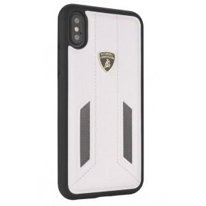 Lamborghini Huracan Echtleder Hülle für iPhone X / Xs D6 Serie Weiß