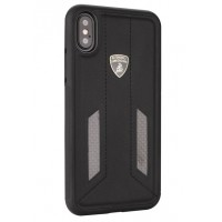 Lamborghini Huracan Echtleder Hülle für iPhone XR D6 Serie Schwarz