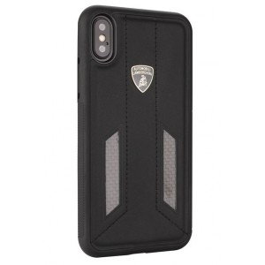 Lamborghini Huracan Echtleder Hülle für iPhone XS Max D6 Serie Schwarz