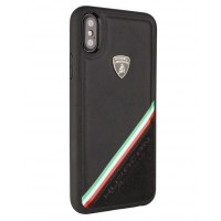 Lamborghini Alcantara Echtleder Hülle für iPhone XR Schwarz