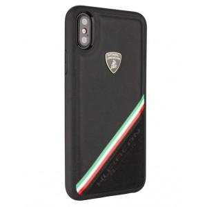 Lamborghini Alcantara Echtleder Hülle für iPhone X / Xs Schwarz