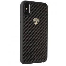 Lamborghini Carbon Hülle / Hardcover für iPhone Xs Max Schwarz