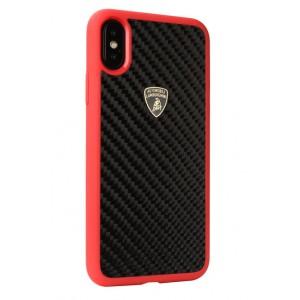 Lamborghini Carbon Hülle / Hardcover für iPhone X / Xs Schwarz / Rot