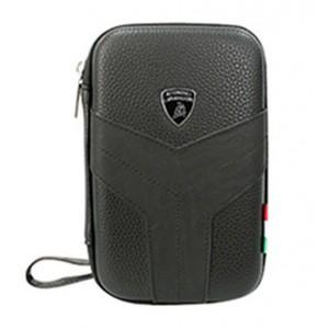 "Original Lamborghini Tablet Tasche Easy Carry bis 12"" Schwarzes Echtes Leder"