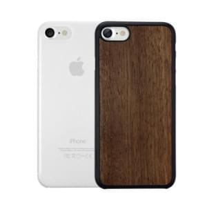 Ozaki O!Coat 0.3 Jelly + Wood Case I Apple iPhone 8 / 7 I Ebony / Transparent