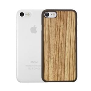 Ozaki O!Coat 0.3 Jelly + Wood Case I Apple iPhone 8 / 7 I Zebrano / Transparent