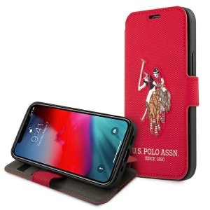 US Polo iPhone 12 mini 5,4 Handytasche Rot Embroidery USFLBKP12SPUGFLRE