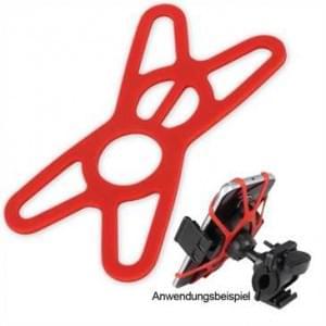 Universelle Smartphone Sicherung aus Silikon für Fahrrad und KFZ Halterungen - Farbe: Rot