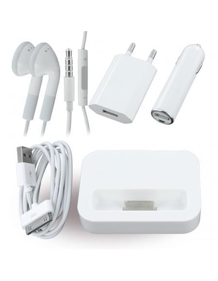 Vento Travel - 5in1 Combo - KFZ Adapter + Netzteil + Datenkabel + Headset + Dockingstation - Apple iPhone 4, 4S - Weiß - 1000mAh