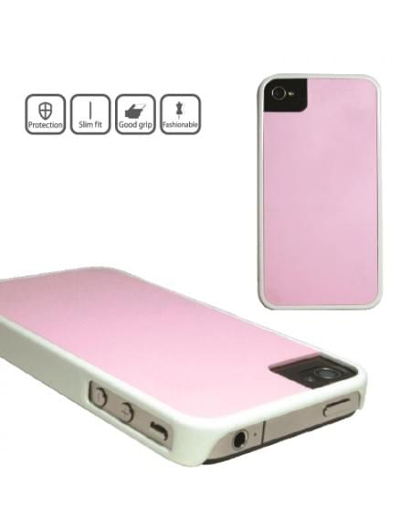 icover - Hart Cover/Case/Schutzhülle - Apple iPhone 4, 4S - Weiß/Pink