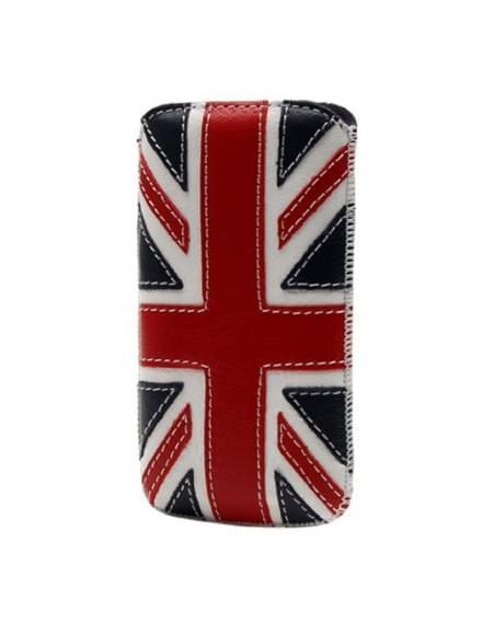 DC - Montone SRC Slide - Leder Etui/Tasche/Case mit Lasche - UK Flagge - Apple iPhone 4, 4S - Navy