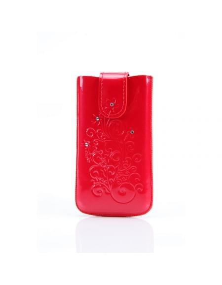 DC - SRC Protect Silvery - Leder Etui/Tasche/Case mit Lasche - Apple iPhone 4, 4S - Fuchsia Stone