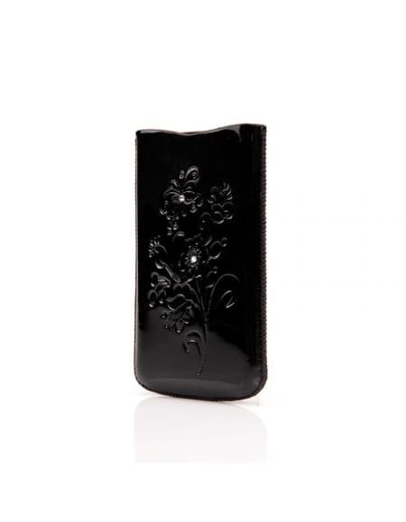 DC - SRC Slide Silvery - Leder Etui/Tasche/Case mit Lasche - Apple iPhone 4, 4S - Schwarz Stone