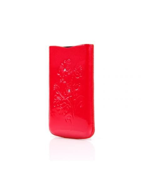 DC - SRC Slide Silvery - Leder Etui/Tasche/Case mit Lasche - Apple iPhone 4, 4S - Rot Stone
