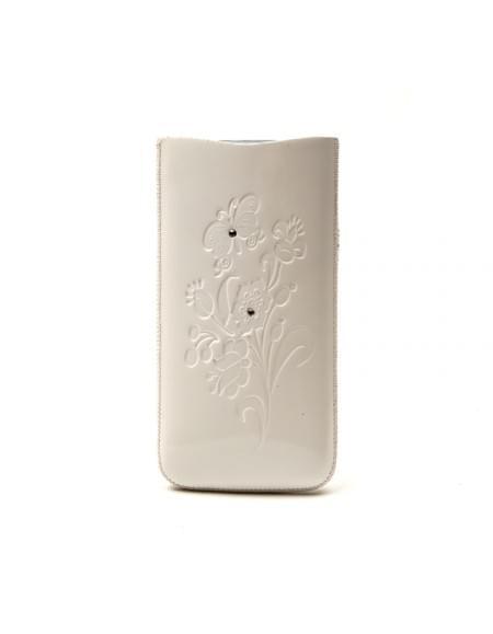 DC - SRC Slide Silvery - Leder Etui/Tasche/Case mit Lasche - Apple iPhone 4, 4S - Weiß Stone