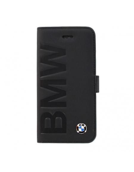 BMW - Signature Debossed Logo Collection - Book Kunstledertasche/Hülle/Case - Apple iPhone 5se, 5, 5S - Schwarz