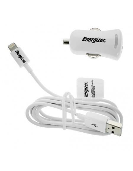 Energizer - KFZ-Ladekabel + Ladegerät - Weiß - 2100mAh - Made for iPhone