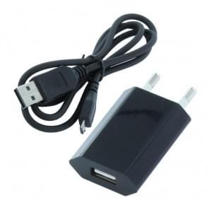 Netzteil Adapter 1A + Datenkabel Micro-USB auf USB - Schwarz
