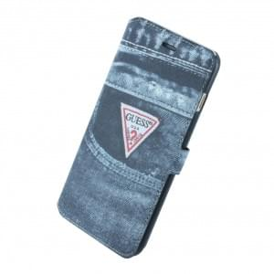 Guess - Denim Jeans - Book Tasche für Apple iPhone 6 Plus, 6s Plus - Schwarz