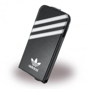Adidas Premium - Flip Cover / Hülle / Handytasche für Apple iPhone 6, 6s - Schwarz / Silber