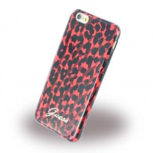 Guess Animal - Leopard GUHCP6LEORE - TPU Handy Cover/ Case/ Schutzhülle - Apple iPhone 6, 6s - Rot