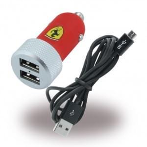 Ferrari USB KFZ Ladegerät + Ladekabel - 2x USB - 2,1mAh