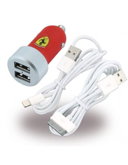 Ferrari FERUCC2UAPRE - USB KFZ Ladegerät + Ladekabel - 30-Pol + Lightning - 2,1mAh
