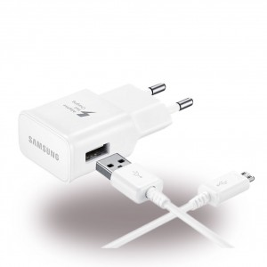 Original Samsung EP-TA20EWE - USB Netzteil / USB Charger + Ladekabel USB auf Micro-USB - Weiss