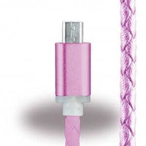 Leder Micro USB Ladekabel / Datenkabel Micro-USB auf USB Pink