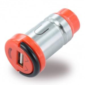 Premium Kfz Ladegerät / Adapter USB 2.0A Silber / Orange