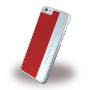Corvette Silver Brushed Aluminium - Hard Cover / Case / Schutzhülle - Apple iPhone 6 Plus, 6s Plus - Rot