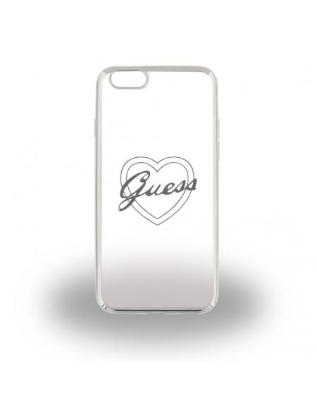 Guess - Heart GUHCP6LTRHS - TPU Cover / Silikon Case / Schutzhülle - Apple iPhone 6 Plus, 6s Plus - Silber