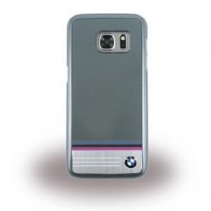 BMW - BMHCS7TSDG - Aluminium Plate Stripe - Hard Cover / Case / Schutzhülle - Samsung G930F Galaxy S7 - Grau